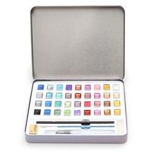 12 36 a aguarela do brilho pinta a caixa metálica do metal das cores sólidas para a pintura da arte, técnicas da aguarela dos alunos