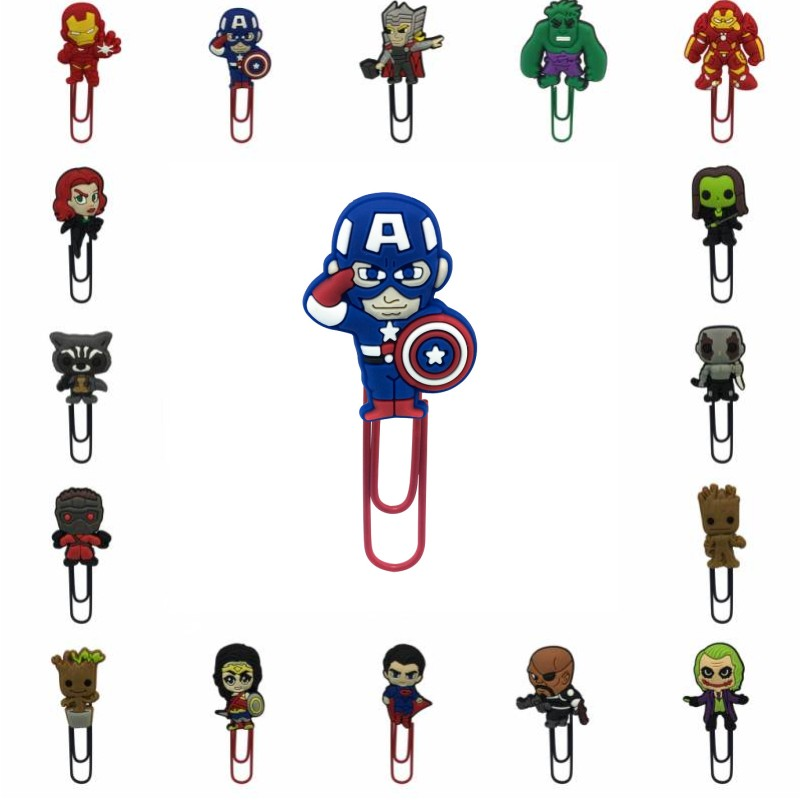 1pcs Super Hero Cute Bookmarks For Books Metal Clips For Kids Paper Clips Office School Supply Page Hoder For Teachers Students