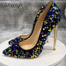 Tikicup Blue Bling Sequins Women Sexy Extremely High Heels Pointed Toe Slip On Stiletto Chic Pumps Ladies Party Wedding Shoes