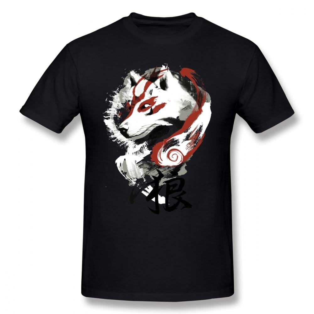 Okami T Shirt Wolf T-Shirt Graphic Tee Shirt Awesome 100% Cotton Short Sleeve Male Classic Tshirt Guys Punk Designer Streetwear