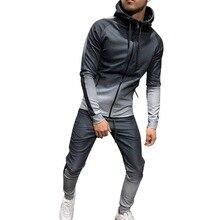 2019  Gradient Sportswear Men Outwear Set Zipper Hooded Casual Sweatshirt Striped 2 Pieces Sets Jacket+Pants