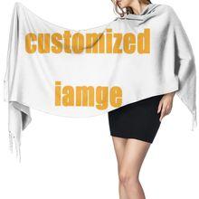 Noisydesigns personalizado cachecóis de caxemira feminino com borla outono novo macio quente senhora meninas envolve fino longo cachecol xale feminino