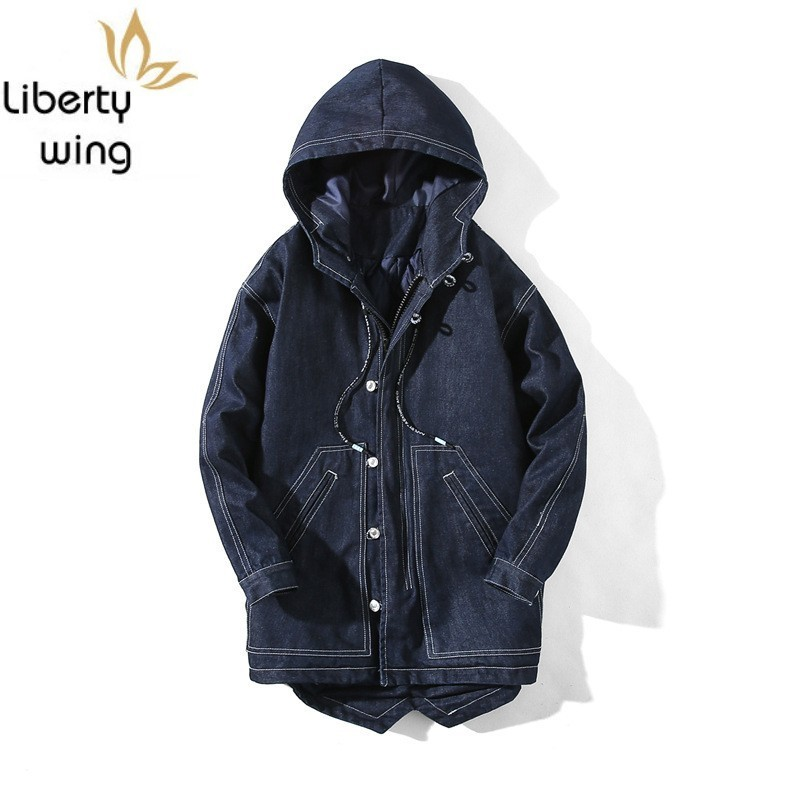 Men Hooded Denim Jacket Autumn Winter Casual Thick Cotton Coat High Street College Single Breasted Outerwear Plus Size 5XL