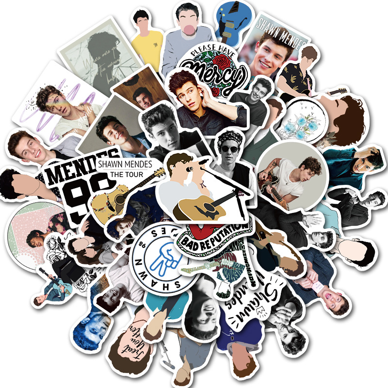 10/30/50pcs Cartoon Singer Shawn Mendes Stickers Waterproof PVC Luggage Skateboard Car Laptop Snowboard Guitar Sticker Kids Toys