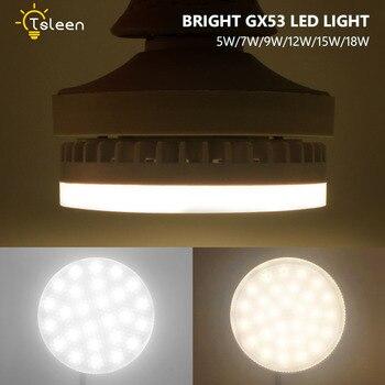 8X Super Bright GX53 LED Bulb Lights 5W 7W 9W 12W 15W 18W led Spotlight SMD 2835 AC 85-265V Lamp Light Under Cabinet Wardrobe