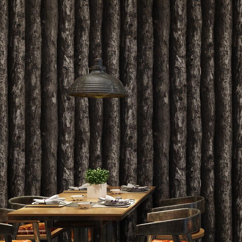 Chinois Vintage bois papiers peints décor à la maison 3D peintures murales imperméable arbre papier peint rouleau pour fond murs revêtement mural
