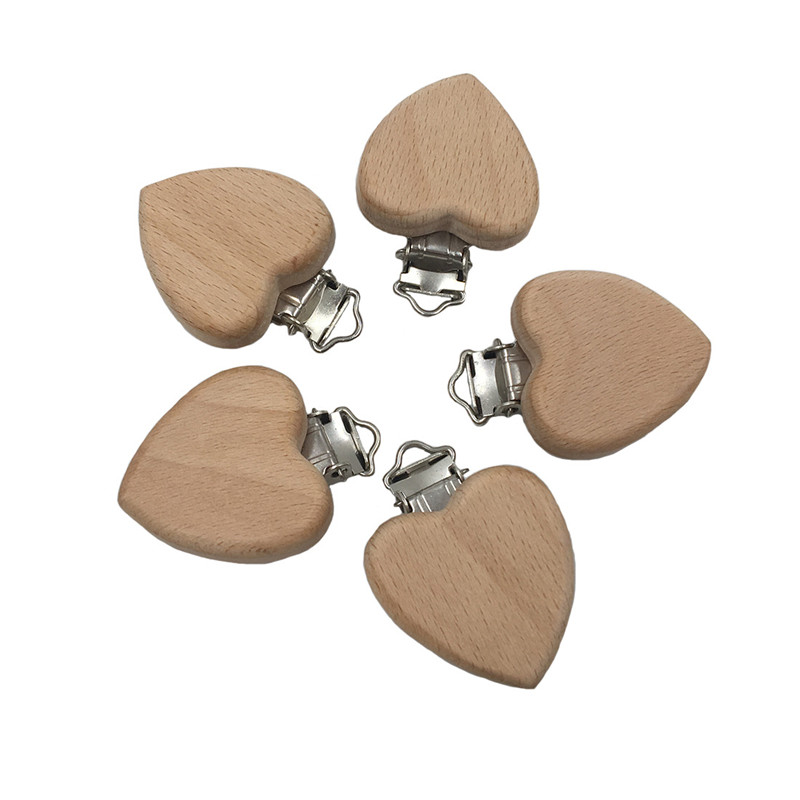 Natural Beech Cartoon Peach Heart Shaped Pacifier Clip Wooden Bead Baby Teether & Wooden Teething Accessories Clip Nipple Clasps