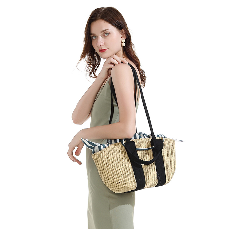 Straw Woven Bag Hand-woven Handbag Female Shoulder Portable Seaside Holiday Beach Rattan Bag