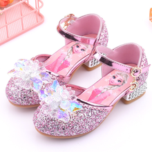 Disney Frozen Girls Lovely Cartoon Elsa Sandals Fashion Crystal Shoes For Baby Girls Soft Leather Single Shoes Princess Sandals