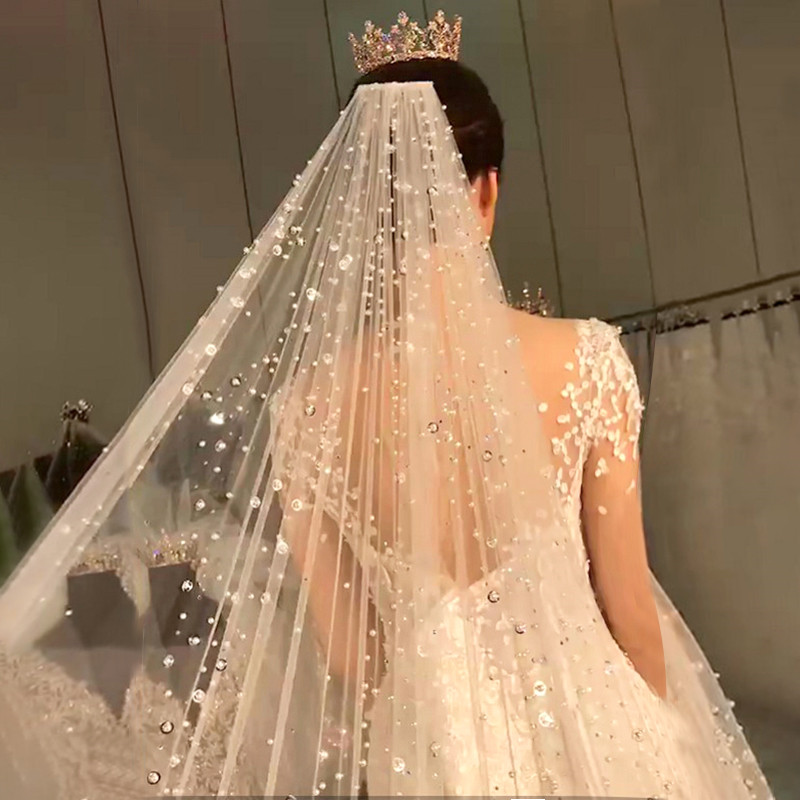 Bling Bling Rhinestone Beaded Bridal Long Wedding Veil Middle East Dubai Bride's Headdress Cathedral Veils With Comb Luxury