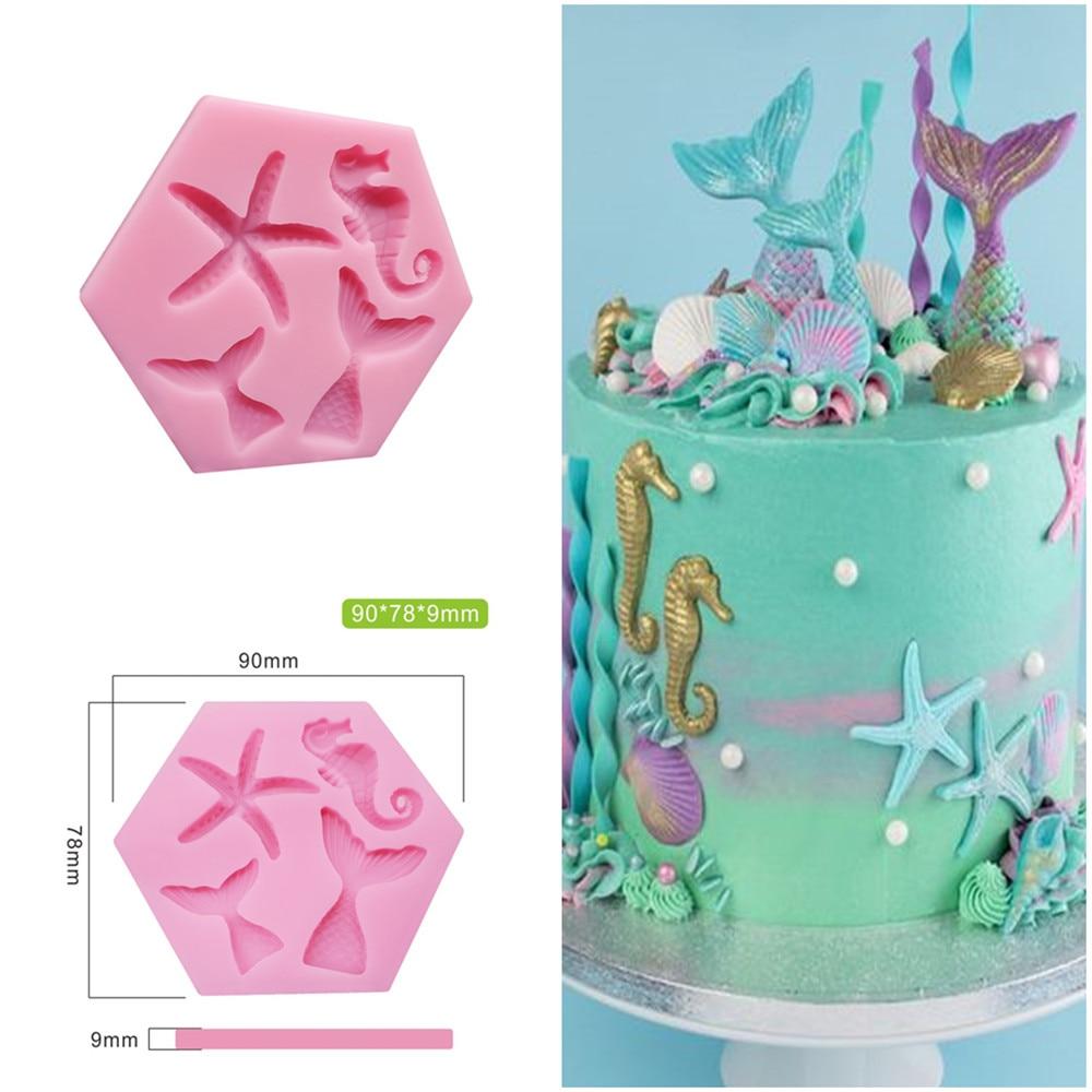 Mini Mermaid Tail Starfish Silicone Mold Fondant Chocolate Cake Molds Cake Decorating Tool DIY Handmade Clay Soap Mould Bakeware