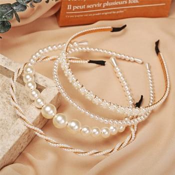 New Women Elegant Full Pearls Simple Hairbands Sweet Headband Hair Hoops Holder Ornament Head Band Lady Fashion Hair Accessories 3