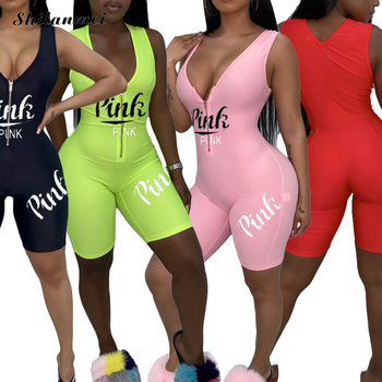 Sexy Shorts Romper Bodycon Jumpsuit Women Pink Letter Print Zip Up Jumpsuit Romper 2020 Party Club Outfits Playsuits Streetwear цена 2017