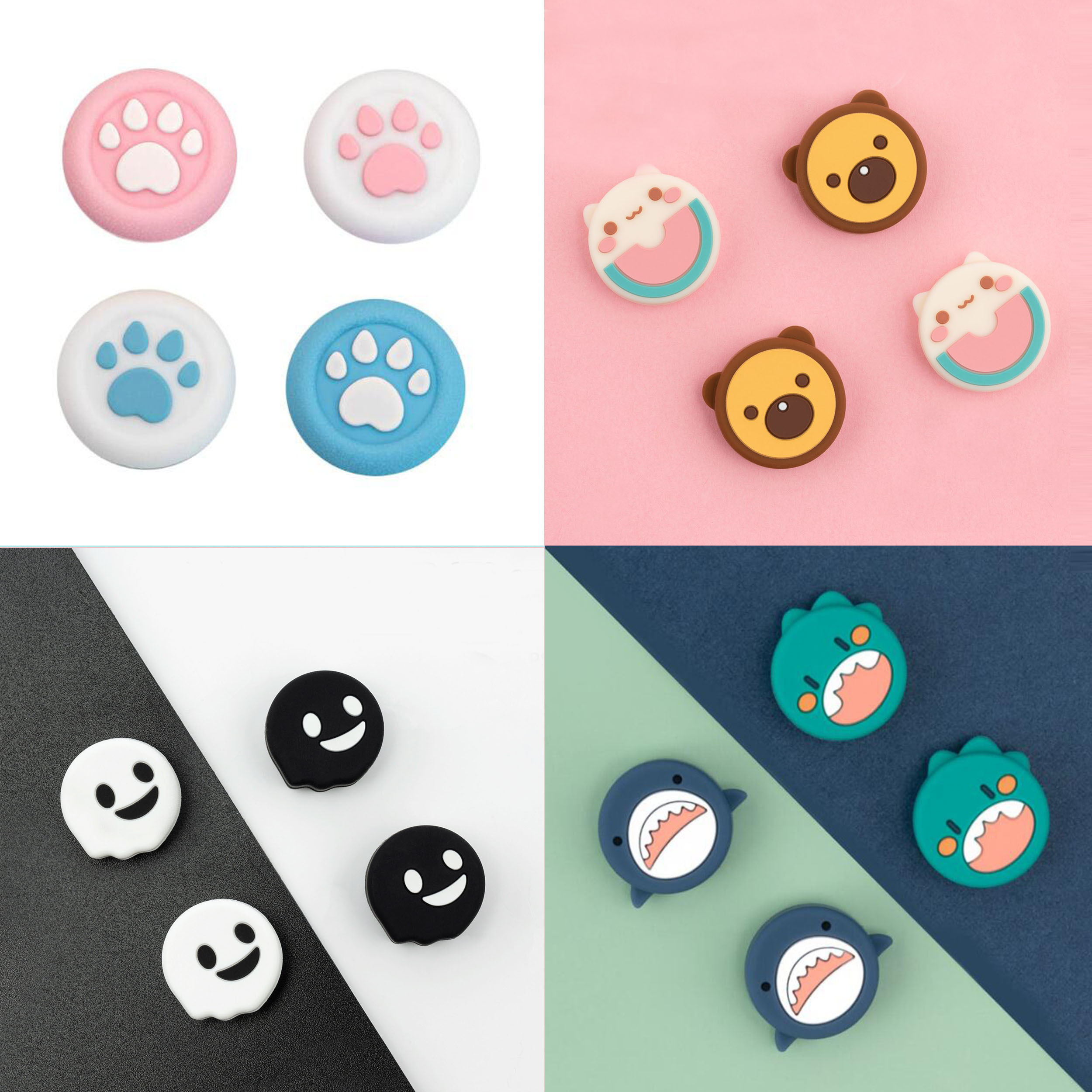Cat Paw Sakura Thumb Stick Grip Cap Joystick Cover For Sony Playstation Dualshock 4/3 PS5/PS4/PS3/Xbox 360/Switch Pro Controller