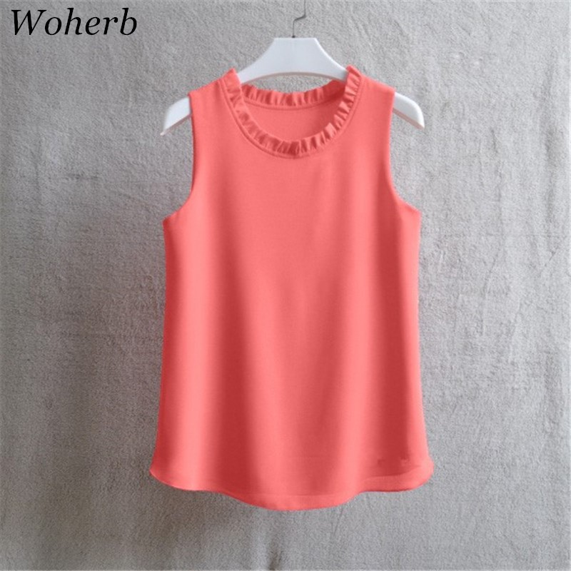 Woherb 21 Colors Solid Ruffle Chiffon Blouse Women 2020 Summer Fashion Vest Blusas Casual Loose Sleeveless Ladies Tops Shirt