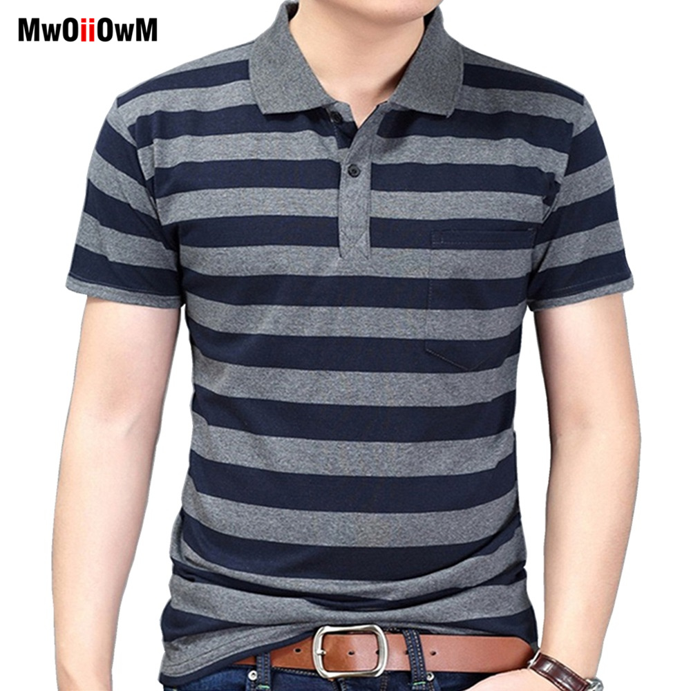 MwOiiOwM New Summer Style Striped Short Sleeve Casual Men T Shirt High Quality Polyester T-shirts Men Turn Down Collar Tshirt