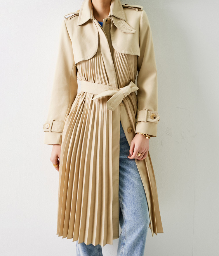 2020 New Spring Long Trench Coat With Belt Pleated Hem Women Jacket Solid Color Coat Casual Outerwear