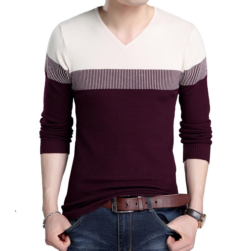 2019 New Fashion Brand Sweater Man Pullover V Neck Slim Fit Jumpers Knitred Woolen Winter Korean Style Casual Men Clothes J795