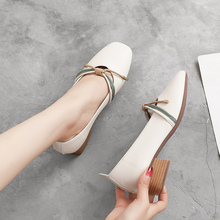 2019 Women's High Heels Med Heel Shoes Round Toe Shallow Slip On Women Pumps Black Genuine Leather Comfortable New Arrival цена 2017