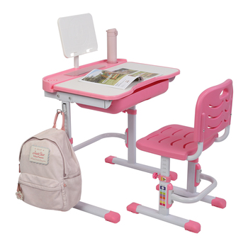70 x 47 x (82cm-104cm)Kid Study Desk  Lifting Table Can Tilt Children Learning Table And Chair Pink With Reading Stand