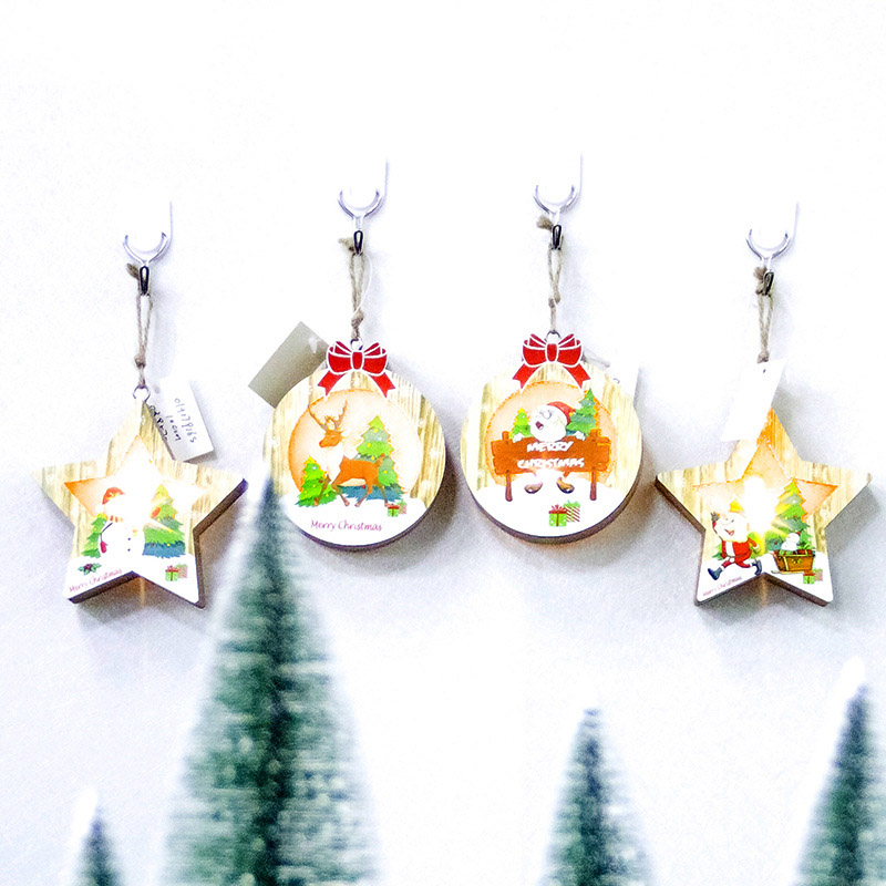 Cute Wooden Mini Ornaments Pendant Light Board Kids Gift Toys For Christmas Party Decoration JA55