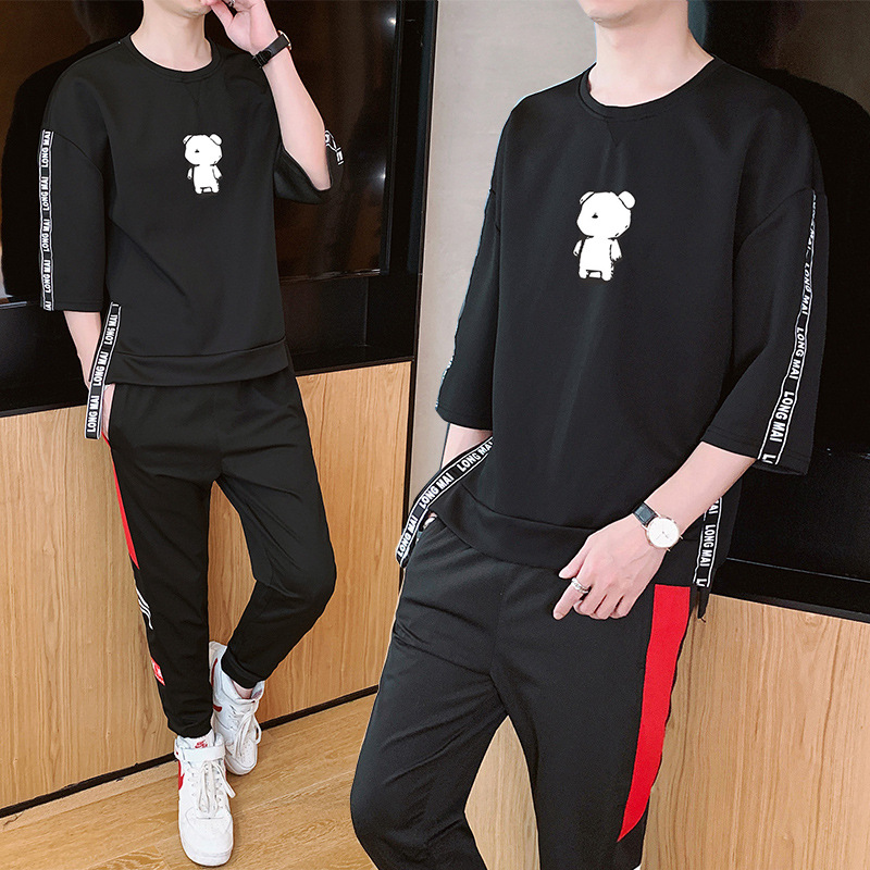 Fashion Man Hoodie Trousers Two Pieces A Set Three-quarter-length Sleeve Spring And Autumn Printed Cartoon T-shirt Loose-Fit Tee