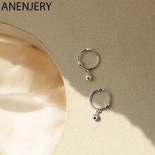 ANENJERY – boucles d'oreilles rondes en argent Sterling 925 pour femmes, bijoux de fête de mariage, cadeaux, vente en gros