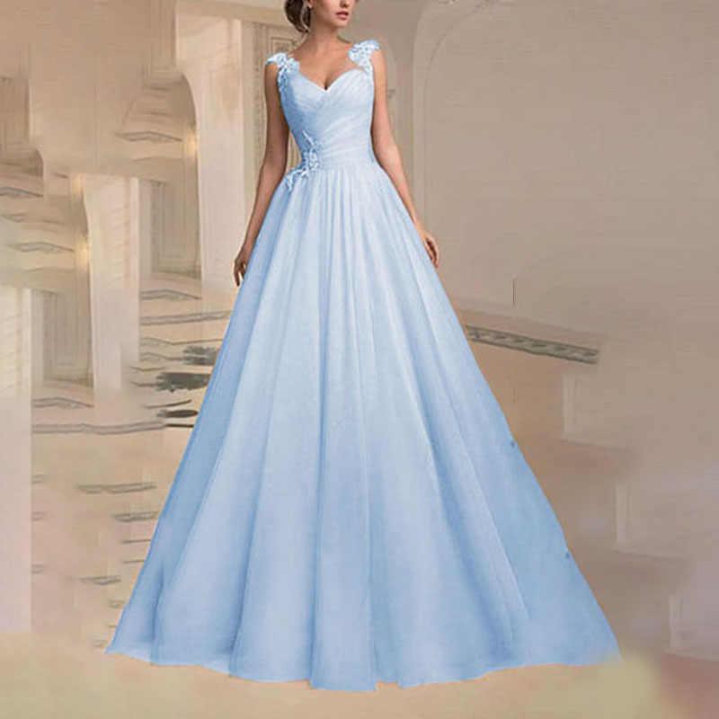 נשים \ של סקסי מקסי שמלת קיץ חתונה צווארון V שרוולים מותניים מוגדר רשת גדול מטוטלת כדור שמלת המפלגה ארוכה שמלות