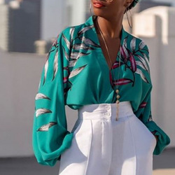 Women Green Printed Blouse V Neck Tops Shirt Long Lantern Sleeves Elegant Femme Summer Fashion Ladies Female Bluas Plus Size XXL