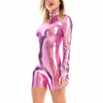 Shiny Holographic Women Playsuits Back Zipper Turtleneck Long Sleeve Wet Look Metallic Bodysuits Skinny Party Club Playsuits 4