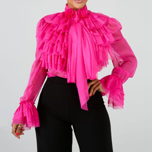 Oversize Pure Pink Ruffle Blouse Women Tops And Blouses Long Sleeve Female Chic Top 2020 Office Ladies Elegant Plus Size Shirt