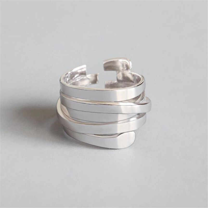 New Atmosphere Creative Spring 925 Sterling Silver Jewelry Fashion Glossy Multi-layer Winding Irregular Opening Rings SR509