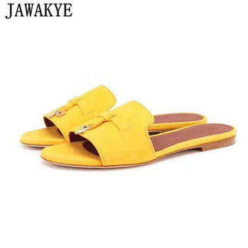 Spring summer round kidsuede Flat Slippers candy color tassel metal lock decor mules flipflops beach Shoes Women 2020 sandals
