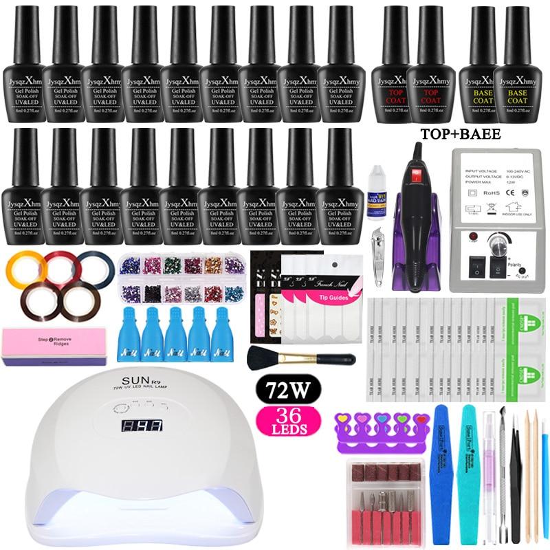 Nail Set Manicure Kit Lamp For Nail Gel 18 Parts Set Nail Polish Kit Tools For Manicure UV Gel Varnish All For Kit Manicure Set
