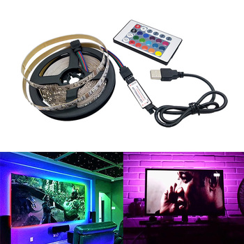 Led Strip 5V USB 2835 SMD Flexible RGB Tape Led Ribbon 5M Led Strip Light Christmas TV Backlight With Remote 24Key 3Key Control image