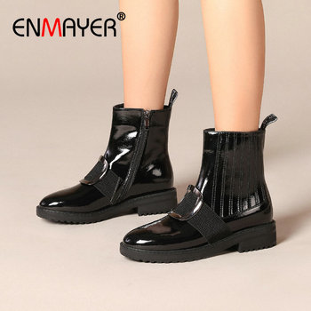 ENMAYER 2019 Genuine Leather Boots Women Leather Boots Women  Round Toe Ankle Boots Square Heel Motorcycle Boots SIZE 34-42