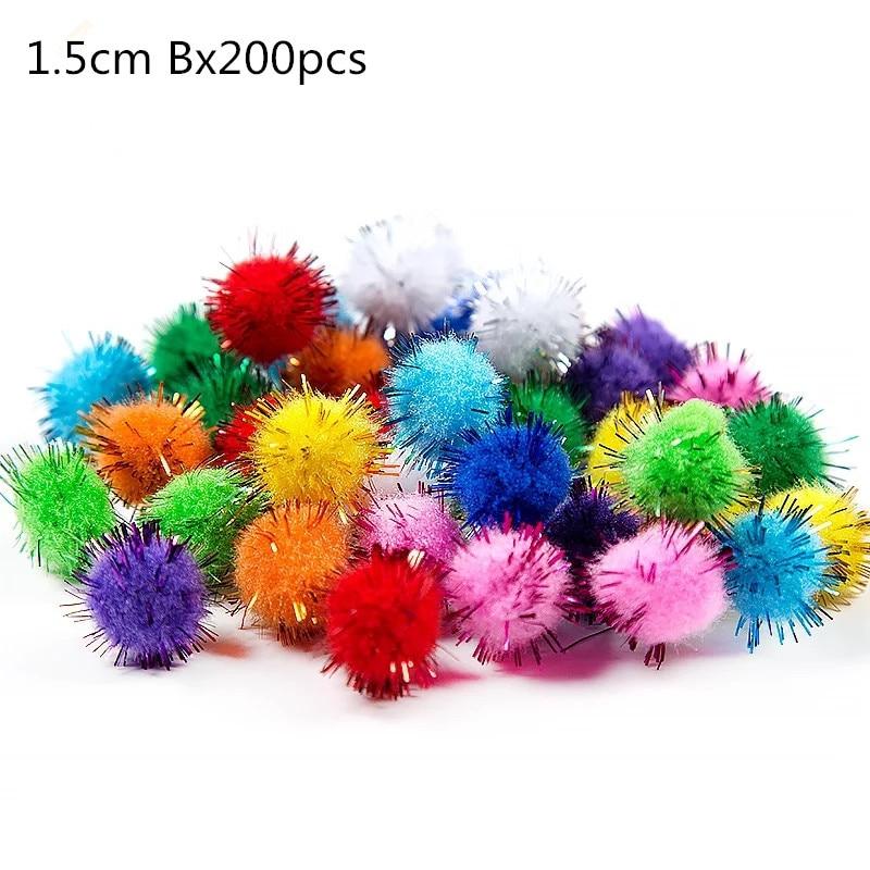 500 шт 10 мм мягкие круглые пушистые Помпоны разноцветные DIY украшения 200 шт 1,5 см - Цвет: 1.5x200pcs Type B