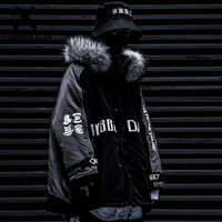 11 BYBB'S DARK DetachableHip Hop Hooded Parkas Jackets Men Harajuku Ribbons Tops Casual Streetwear Male Thick Winter Padded Coat