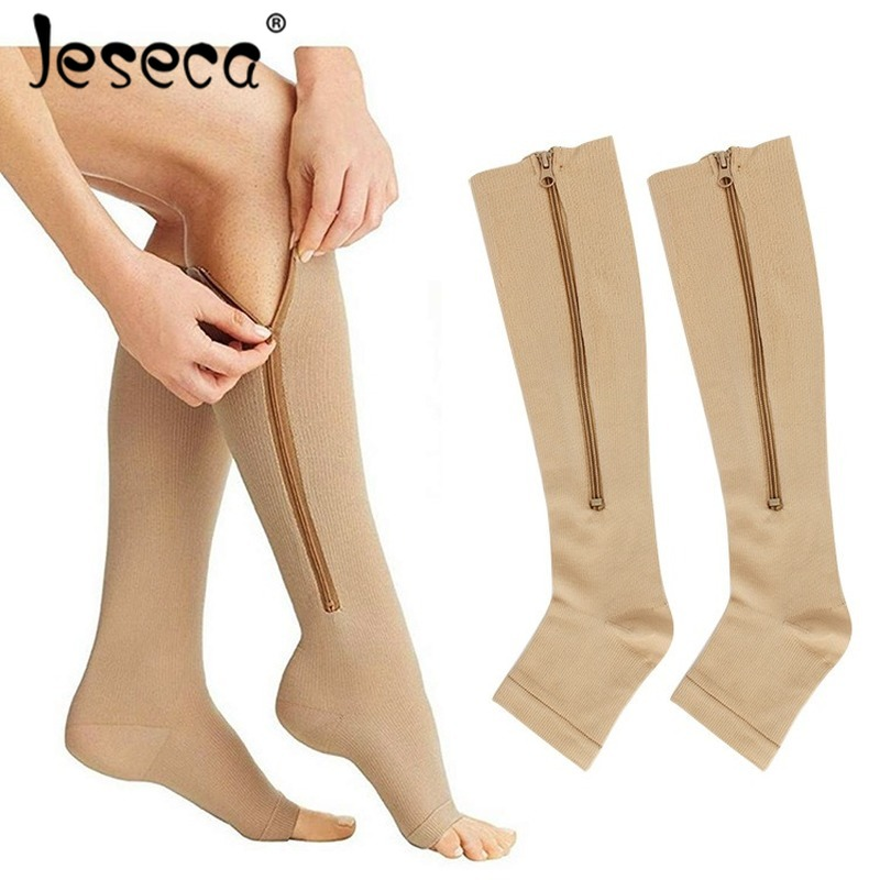 Jeseca New Women Stockings Compression Underwear Open Toes With Zipper Varicose Vein Pressure Circulation Knee High Long Sox