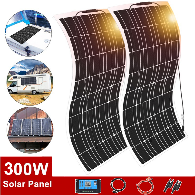 Flexible Solar Panel 300w 150w 18V 12V 24V Charger Monocrystalline Solar Cells Battery Charger For Car Boat RV Waterproof Home