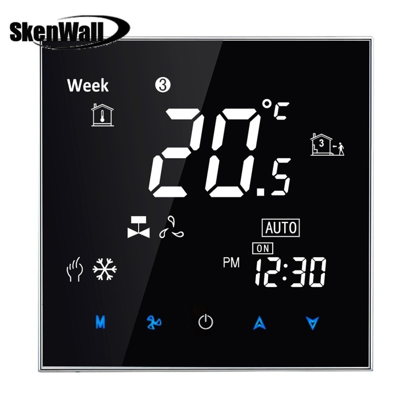 Central Air Conditioning Type Touch Switch LCD Digital 2-pipe Fan Coil Unit Room Thermostat, Display Fan Speed Temperature Heat