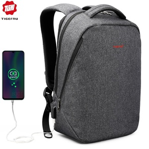 Tigernu бренд USB зарядка рюкзаки мужской светильник Тонкий минималистский Модный женский рюкзак школьная сумка 14