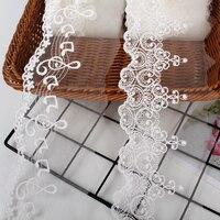 Hilo de algodón blanco y negro + red de nailon, malla bordada, tejido de encaje para ropa, adornos, accesorios de costura hechos a mano DIY