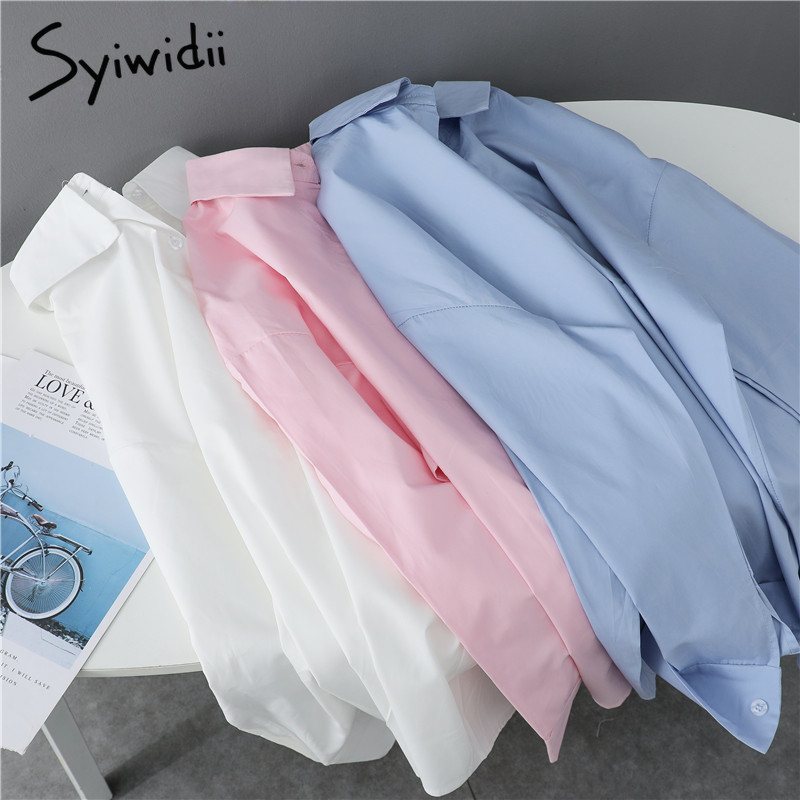 Syiwidii Women Blouses Office Lady Cotton Oversize Plus Size Tops Pink White Blue Long Sleeve 2021 Spring Korean Fashion Shirts|Blouses & Shirts| - AliExpress