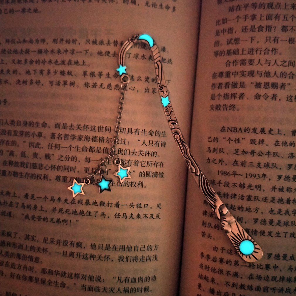 Luminous Sun Moon Star Bookmarks Retro Pentagram Glowing Metallic Bookmarks Fluorescent Moon Bookmarks