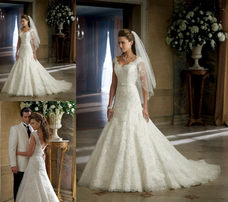 Free Shipping 2016 Lace And See Through Wedding Dress Kate New White/Ivory Bride Wedding Dress Custom Size