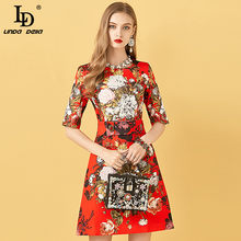 LD LINDA DELLA Fashion Designer abito corto estivo donna Streetwear stampa floreale fusciacche diamanti perline Mini abito da donna 2021
