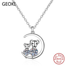 Geoki 925 Sterling Silver Perfect Cut 0.4 ct Cute Couple Minnie Mouse Moissanite Pendant Necklace Passed Diamond Test