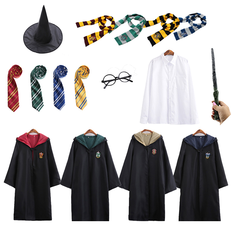 Potter Robe Cape Cloak With Tie Scarf Wand Glasses Ravenclaw Gryffindor Hufflepuff Slytherin Costume Adult Potter Cosplay
