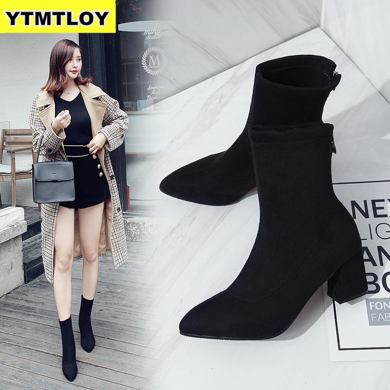 Fashion Women Ankle Boots Thick Heels Shoes Female Newest Pointed Toe Ladies Shoe Brand Martin Boot Woman Zipper Super High